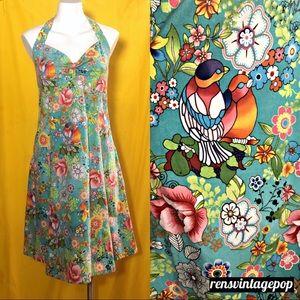 Vntg Turquoise Love Birds Handmade Floral Dress